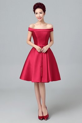 Wine Red Off-Shoulder A-Line Gown (Express)