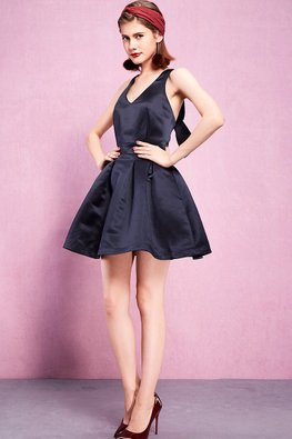 Navy Blue V-Neck Ribbon Cross-back A-Line Dress
