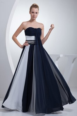 Navy Blue Sweetheart Duo Tone Beaded Waist A-Line Gown