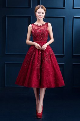 Wine Red Illusion Neckline Lace A-Line Tea-Length Gown