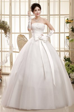 Straight Across Lace with Gem White Rosette Ribbon Wedding Gown