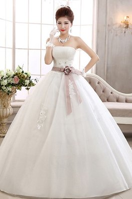 Straight Across Lace Bodice Brown Pink Ribbon Wedding Gown