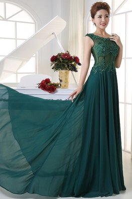 Teal Alluring Lace Keyhole Back Floor Length Gown with Sweep Train