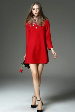 Black / Red Gem Embellished Jewel Neckline A-Line Wool Dress