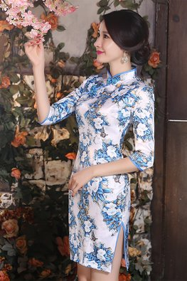 Blue White Porcelain 3/4 Sleeves Satin Cheongsam