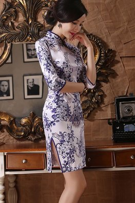Blue White Porcelain Blue Yellow Chinese Knots 3/4 Sleeves Satin Cheongsam (Express)