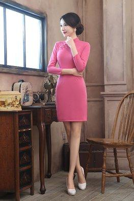 Pink Mandarin Collar 3/4 Sleeves Wool Cheongsam
