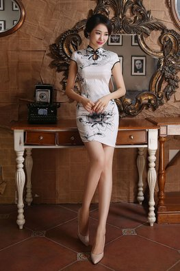 Silver Diamond Checked Keyhole Neckline Cheongsam (Express)