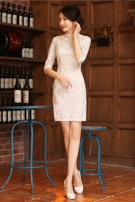 Yellow Gold Trimmings Mandarin Collar 3/4 Sleeves Lace Cheongsam (Express)