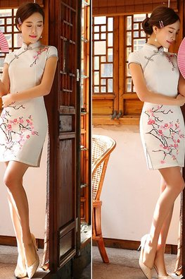 White Mandarin Collar with Silver Yellow Trimmings Floral Cheongsam