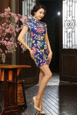 Blue Keyhole Floral Velvet Cheongsam (Express)