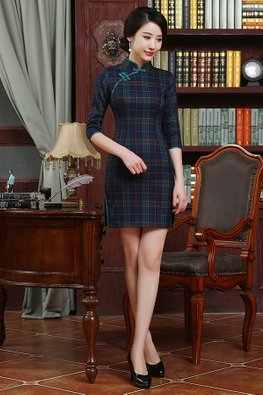Green  Checked 3/4 Sleeves Cheongsam