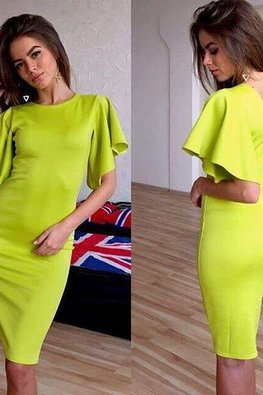 Lime Green Jewel Neckline Butterfly Sleeves Pencil Dress (Express)