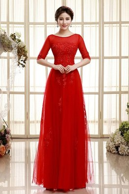 Red Bateau Neckline Elbow Sleeves Open Back Gown