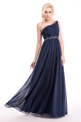 Blue One-Shoulder Interwoven Gem A-Line Gown (Express)