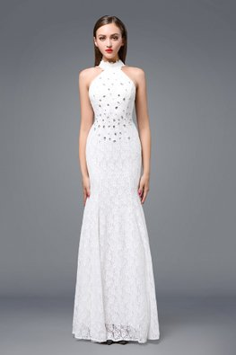 White Gem Halter Sheer Back Fit and Flare Gown (Express)