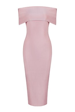 Assorted Colours Off-Shoulder High Slit Bandage Dress (Express)