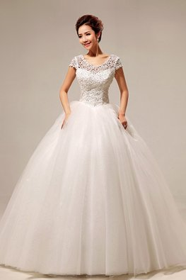 Illusion V-Neck Sequins Cap Sleeves Twinkle Skirt Wedding Gown