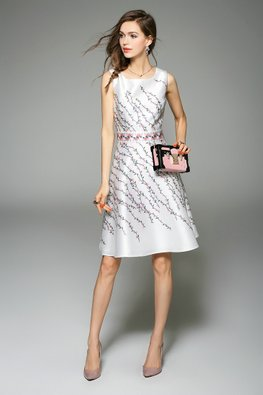 White Pink Floral Prints A-Line Dress