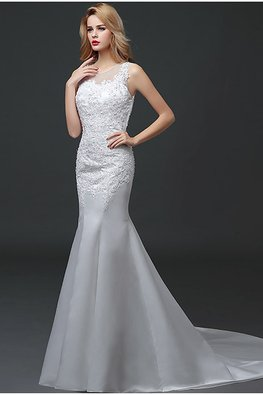Illusion Neckline Tulle and Lace Fit and Flare Wedding Gown with Court Train