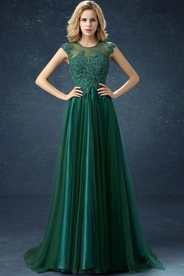 Dark Green Illusion Neckline Cap Sleeves Beaded Lace A-Line Gown with Sweep Train (Express)