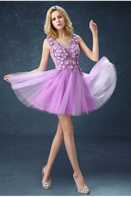Lilac V-Neck 3D Flowers Mini Gown