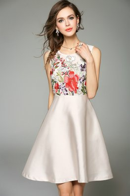 Almond Jewel Neckline Floral Embroidery A-Line Dress