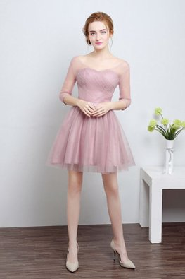 Dusty Pink Illusion V Neckline 3/4 Sleeves Mini Gown