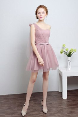 Dusty Pink One-Shoulder Mini Gown