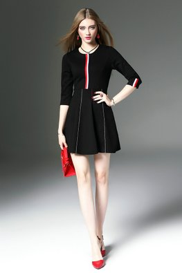 Black / Red Duo Colour Stripes A-Line Dress