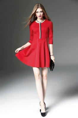 Black / Red Duo Colour Stripes A-Line Dress