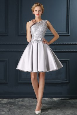 Grey Lace Waist Bow A-Line Mini Gown