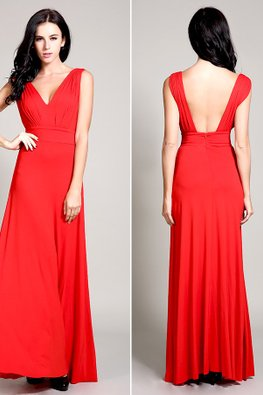 Red V-Neck Low Back Floor Length Gown