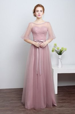 Dusty Pink Illusion Neckline Puff Sleeves Floor-Length Gown