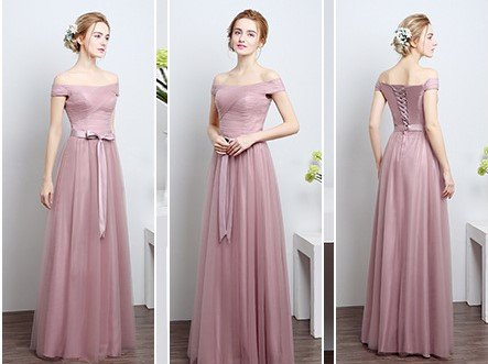 Dusty Pink Off-Shoulder Floor Length Gown (Express)