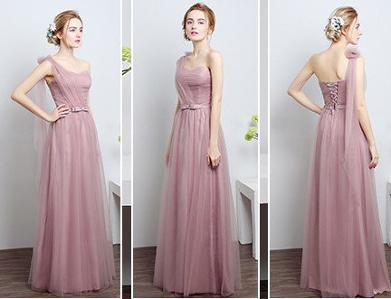Dusty Pink One-Shoulder Floor Length Gown