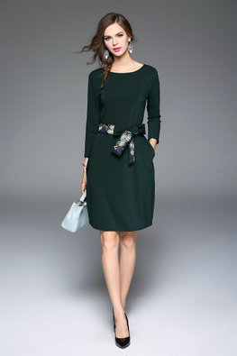 Pine Green Jewel Neckline Dress with Floral Embroidery Belt