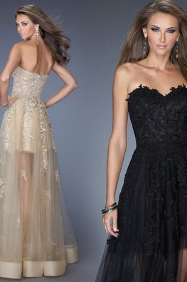 Champagne / Black Sweetheart Embroidery Lace A-Line Gown