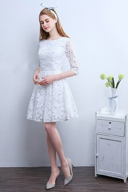 Assorted Colours Jewel Neckline 3/4 Sleeves Lace Dress (Express)