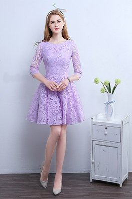 Assorted Colours Jewel Neckline 3/4 Sleeves Lace Dress