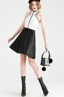 Black White Duo Tone Halter Neck Dress