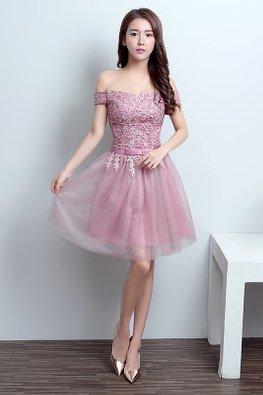Dusty Pink Off-Shoulder Applique Mini Gown