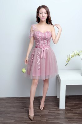 Dusty Pink One-Shoulder Applique Mini Gown
