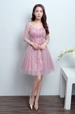 Dusty Pink V-Neck Applique Mini Gown