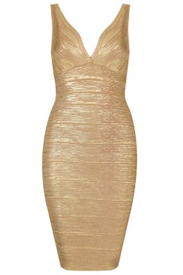 Gold Shimmer Colours V-Neck Bandage Dress (Express)