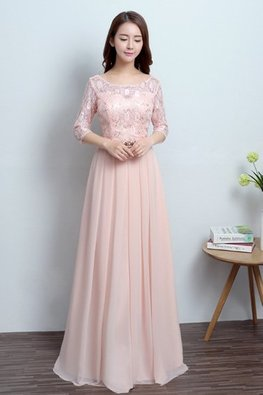 Peach Pink Illusion Neckline 3/4 Sleeves Floor Length Gown