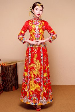 Red Double Happiness 3/4 Sleeves Pheonix Traditional Kua
