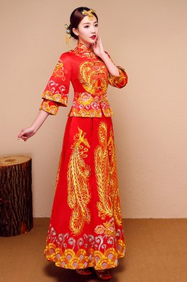 Red Double Sleeves Pheonix Traditional Kua