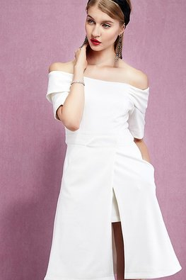 White Off-Shoulder Overlay Dress