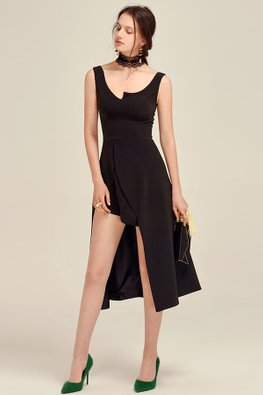 Black Asymmetrical Neckline and Hem Dress